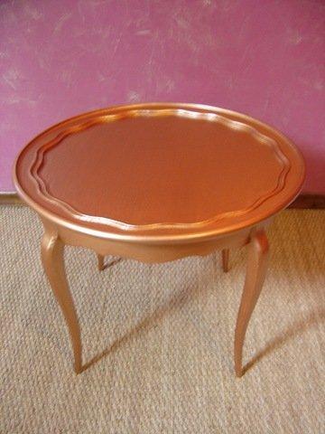 Recyclons pour decorer table couleur cuivre for Table cuivre